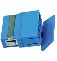 SC Duplex SM Adapter, Blue w/shutter Polymer Housing, Zirconia Sleeve